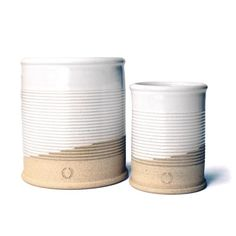 A ceramic twist on the old-fashioned soup can, these vessels work well for storing utensils, tools, or florals. Hand carved lines give these cans a unique design that will surely add to any shelf, tab Earthenware, Stoneware, Farmhouse Pottery, Utensils, Crock, Hand Carved, Old Things, Carving, Clay