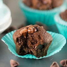 Easy Double Chocolate Chip Muffins recipe made from scratch with cocoa powder and chocolate chips!