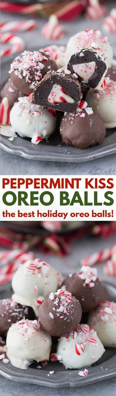 The ultimate holiday oreo balls! Peppermint Kiss Oreo Balls - each ball has a peppermint kiss stuffed inside! The ultimate holiday oreo balls! Peppermint Kiss Oreo Balls - each ball has a peppermint kiss stuffed inside! Köstliche Desserts, Holiday Cookies, Holiday Baking, Christmas Desserts, Holiday Treats, Holiday Recipes, Dessert Recipes, Christmas Recipes, Dinner Recipes