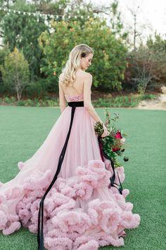 Pink + black wedding dress