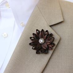 Mens Lapel Flower Mens Flower Lapel Pin Dark Brown Boutonniere Gifts for Men Lapel Flower for Men Mens Lapel Pin Brown Lapel Flower