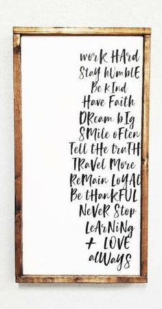 Work Hard Stay Humble Be Kind | Farmhouse Sign | Modern Farmhouse sign wall decor| Farmhouse Decor | Rustic Decor | Rustic Sign | Kids Room Decor | Living room Sign | nursery decor | home decor #ad