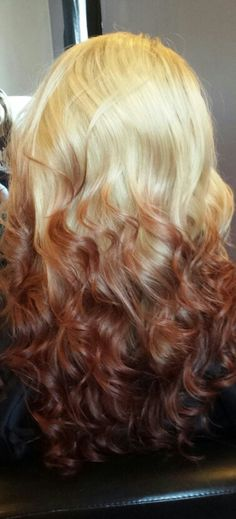 Reverse blonde and red ombre