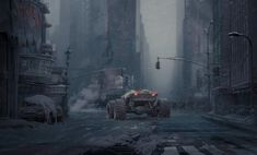 New York Winter, Daniel Romanovsky on ArtStation at https://www.artstation.com/artwork/xQoE