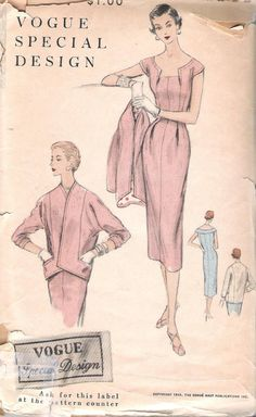 Vogue S 4597 Special Design Vintage 1940's by ComeSeeComeSew, $62.00