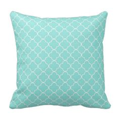 Aqua Quatrefoil Pattern Decorative Pillow