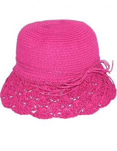 Dahlia Women's Summer Sun Hat - Crochet Brim String Bow Straw Hat