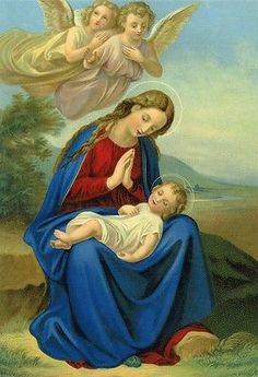 Herz Mariä Bild mit Mutter Gottes Maria in Holzrahmen Heiligenbild Hl