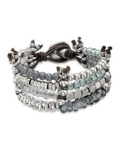 Uno de 50 Kanication Four-Row Beaded Bracelet Jewelry & Accessories - Jewelry - Bracelets - Bloomingdale's Silver Jewelry Box, Leather Jewelry, Vintage Jewelry, Jewelery, Jewelry Bracelets, Bangles, Necklaces, Jewelry Accessories, Jewelry Design