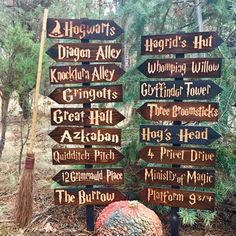 Harry Potter Choose Your Own Sign or Set - Hogwarts Azkaban Hogsmeade Diagon Alley Hagrids Hut Forbidden Forest Directional Cedar Wood Decor THESE SIGNS ARE MADE TO ORDER - Turn around time is 5-7 days, mainly because of the time for paint and varnish to dry. Each location is $15.00. Pick from the following signs or contact me for something else: Hogwarts Hogsmeade Diagon Alley Azkaban Shrieking Shack Whomping Willow Forbidden Forest Hagrids Hut Ivelmorny Knock turn Alley Gringotts Great…