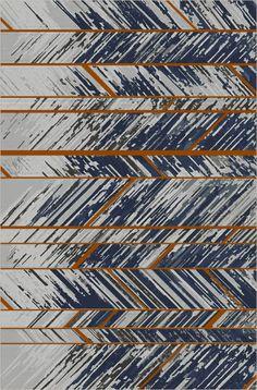 Blue and white herringbone