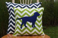 Modern Chevron Green Puppy Pillow Cover  Logan by nest2impress, $16.00