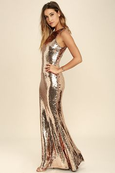 Your beauty will be known for miles around when you slip into the Notorious Rose Gold Sequin Maxi Dress! Shiny sequins sparkle atop a sleeveless, darted bodice. Metallic Dress, Lace Dress Black, Sequin Dress, Sparkly Prom Dresses, Satin Dresses, Lulu's Dresses, Formal Cocktail Dress, Gold Formal Dress, Formal Dresses