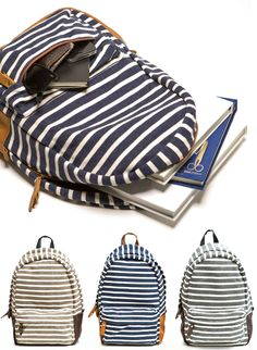 ...striped backpacks from Poketo! So fun...they remind me of the one I got in Japan last year! — Joy