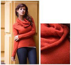 Handcrafted Peruvian Alpaca Wool Pullover Sweater - Sunny Warmth | NOVICA