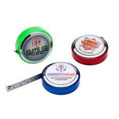 """promotional pocket tape measures #promotional tape measures #promotionalproducts, #promotionalcustomprinting There's no need to go to extreme """"measures"""" to find a fitting promotional product for your next marketing campaign! Featuring metal tape material that measures up to 6', this pocket-sized round tape measure would be an excellent giveaway at the next tradeshow, convention or career fair you attend. Ideal for contractors and home improvement stores."""