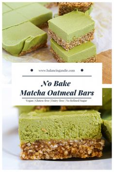 Makes 12 · No Bake Matcha Oatmeal Bars (Vegan, Gluten-free, Dairy-free & Refined Sugar-free!) + matcha for an antioxidant boost. This is still a treat, so enjoy it as one. Healthy Baking, Healthy Desserts, Just Desserts, Raw Desserts, Matcha Dessert, Green Tea Dessert, Vegan Bar, Raw Vegan, Oatmeal Bars
