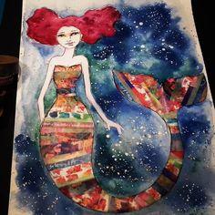 Mermaid with #jdmm washi tapes for #mermaidgiveaway  (Video soon on YouTube )  #elenisartstuff #mixedmedia #art #artwork #artist #artistoninstagram #potd #pickoftheday #photooftheday #whimsical #fun #challenge #instalike #instaartist #instaart #instalove #instagood #whimsicalart #janedavenportinspiresme #12monthsofmermaids #mermaids