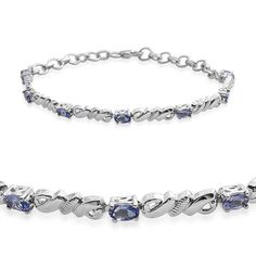 Tanzanite Platinum Plated Sterling Silver Bracelet (7.50 In) TGW 1.500 cts.