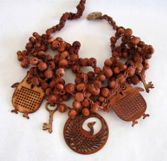 crochetted wooden bead necklace with woodern charms ....and Banana ,handmade jewels.