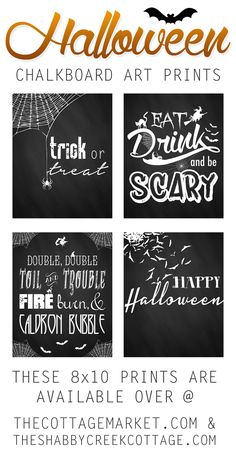 Fun set of four free Halloween chalkboard style printables