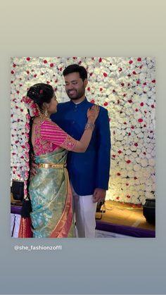 Saree Blouse Neck Designs, Half Saree Designs, Silk Saree Blouse Designs, Fancy Blouse Designs, Bridal Blouse Designs, Pattu Sarees Wedding, Bridal Silk Saree, Couple Wedding Dress, Decorations