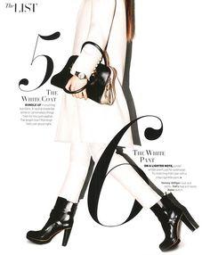 The List (Harper's Bazaar)  Ik vind het wit gebruik, lettertypes en beeld mooi in elkaar overlopen, Het speelse in het beeld vind ik ook erg mooi.