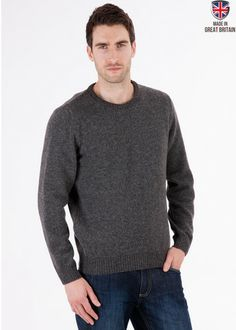 Archer - Coal - Pure Lambswool Jumper - Mens - Wool - Sweater | Sweateronline - Fine British Knitwear Best Of British, Made In Uk, Archer, Wool Sweaters, Jumpers, Men's Clothing, Knitwear, Men Sweater, Pure Products