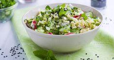 Recette de Couscous frais au concombre, au radis et à la menthe. Facile et rapide à réaliser, goûteuse et diététique.