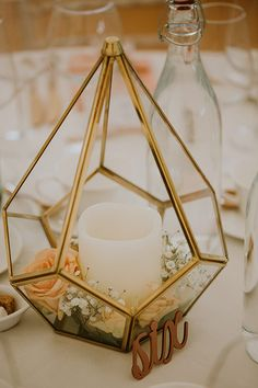 terrariums, flowers and candles