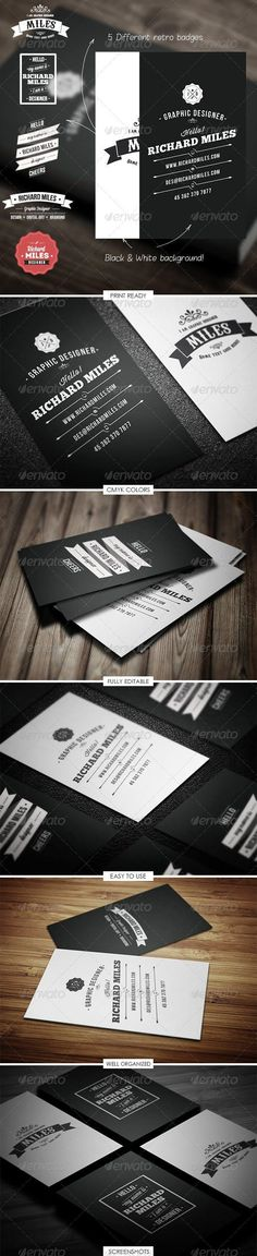 Buy Retro Business Card by Realstar on GraphicRiver. Thank you for your purchase! This amazing business card can be used by you in absolutely every area! Vintage Business Cards, Unique Business Cards, Business Card Design, Print Templates, Card Templates, Richard Miles, Real Star, Vintage Graphic Design, Retro Design