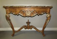 FRENCH TRANSITIONAL CARVED WOOD FLOATING CONSOLE TABLE WITH MARBLE TOP