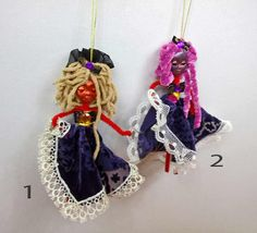 Small Purple Doll Mobile Halloween Witch Art Clay Doll