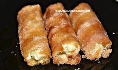 FRENCH TOAST STICKS STUFFED WITH SWEETENED CREAM CHEESE & SERVED WITH MAPLE SYRUP - Hugs and Cookies XOXO
