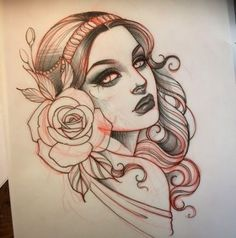 Neo Traditional the house beauty spa childwall - House Beautiful Neotraditionelles Tattoo, Head Tattoos, Body Art Tattoos, Tattoo Flash, Dragon Tattoos, Sleeve Tattoos, Girl Face Tattoo, Girl Face Drawing, Dibujos Tattoo