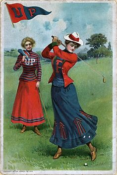Lithograph of Two Women Playing Golf, circa 1900.