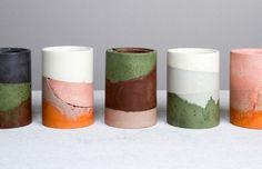 Home Decor Objects Ideas : Cement Ceramics by sister duo Maddie and Becc Sharrock of Studio Twocan. Photo – Elise Wilken, styling – Nat Turnbull for The Design Files. Ceramic Cups, Ceramic Pottery, Ceramic Art, Glazed Ceramic, Concrete Crafts, Concrete Pots, Concrete Furniture, Polished Concrete, Plywood Furniture