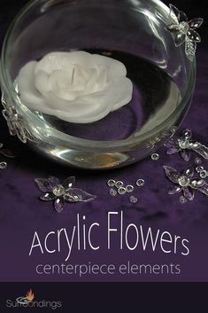 Clear acrylic flower are neutral to use with many decor themes. Use glue dots to secure to vases, bowls or floral displays. Mix with diamond drops and scatter on table around your centerpiece. Flowers have a hole for hanging and beading and also a wi Centerpiece Flowers, Candle Centerpieces, Vases, Acrylic Flowers, Clear Acrylic, Plastic Flowers, Glue Dots, Floating Candles, Neutral Colors