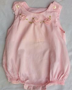 SOLD-vintage baby clothes pink romper with flowers by ThreeBluesVintage, $10.00