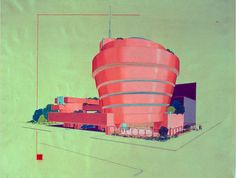 Early #design of Frank L. Wright #Guggenheim #museum in #NYC - A pink version