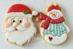 Merry Christmas Santa and snowman cookies Christmas Biscuits, Christmas Sugar Cookies, Christmas Sweets, Noel Christmas, Christmas Goodies, Holiday Cookies, Christmas Baking, Snowman Cookies, Cute Cookies