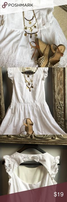 Altar'd State white eyelet dress ❤️❤️❤️ Altar'd State white eyelet dress with open back S seen in picture 3. Ruffle sleeve and side zip for ease in putting on. Dress is fully lined. Dress has white flower detail. Dress was only worn once or twice. Altar'd State Dresses Midi