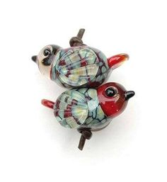 Cinnamon Raku Bird PAIR OR SINGLE/ Lampwork Bird Beads/ Red Glass Birds/ Earrings Pair/ Raku Lampwork/ Glass Redbird Handmade Lampwork Beads ~THESE BIRD BEADS ARE MADE TO ORDER~ Lead time on these is usually 7 business days, and I will contact you if there will be a delay. As each bird
