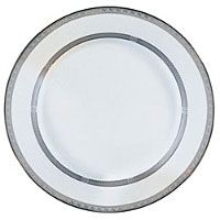 "12"" Sophia Double Banded Platinum Ceramic Charger Plate"