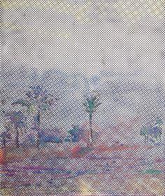 "Sigmar Polke Rasterbild mit Palmen 1966 Oil on canvas 130 x 110 cm 52 x 44"""