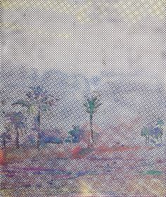 Sigmar Polke Rasterbild mit Palmen 1966 Oil on canvas 130 x 110 cm 52 x 44""