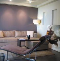 Soft Mauve Accent Wall. Contemporary living room.