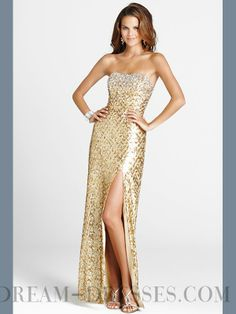 2015 Shinning Sheath / Column Strapless Sequined Sequined Lace Evening Dresses