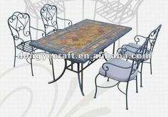 al aire libre de hierro forjado sillas coffea