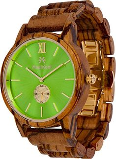 09707be14cef Amazon.com  Wooden Watch for Men Maui Kool Kaanapali Collection Analog  Large Face Wood